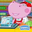 Cashier in the supermarket. Games for kids icon