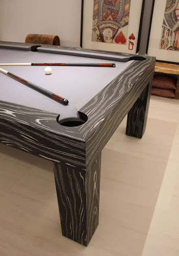 Custom American Pool Table in Black and White Veneer