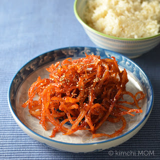 Korean Seasoned Dried Squid (Ojingeochae muchim) #SundaySupper.