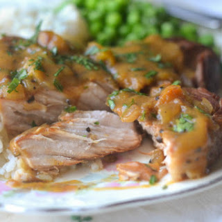 Peach Barbecue Smothered Pork Chops