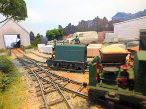 Photo: 003 Michael Campbell's 014 Hudson Hunslet draws another loaded train of skips through the yard at Thakeham Tiles .