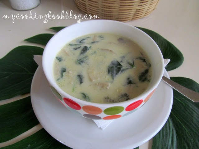 Гъста млечна супа с гъби и спанак