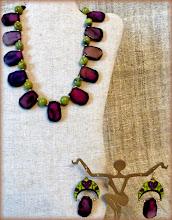 Photo: #175 GARDEN OF EDEN ~ РАЙСЬКИЙ САД Agate, jade, gold plate, enamel, 14K gold vermeil $120/set SOLD