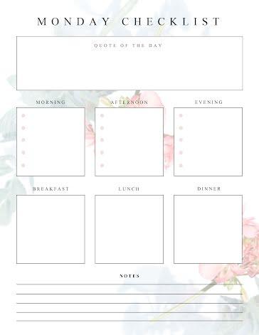 Monday Checklist - Planner Template