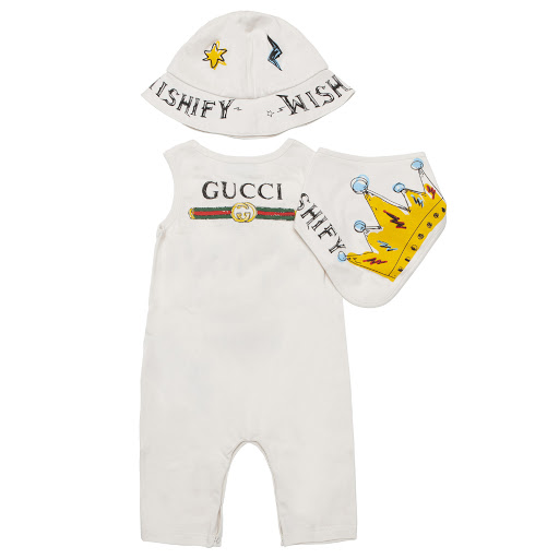 Thumbnail images of Gucci Printed Sleeveless Romper Set