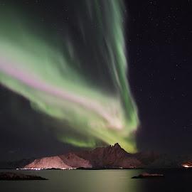 Aurora by Geir Lakselvhaug - Landscapes Starscapes ( #aurora, #stars, #lofoten, #night, #winter )