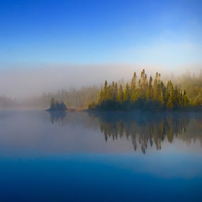 Misty Morn Reflection  by Debbie Squier-Bernst - Landscapes Weather (  )