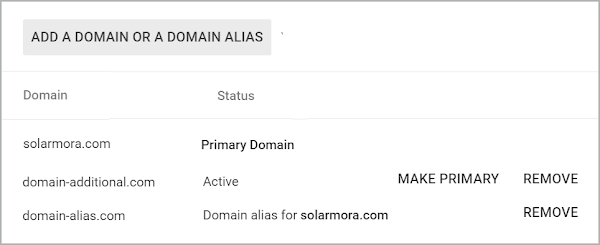 Add a Domain or a Domain Alias window is shown. Shows the Primary Domain, the secondary domain to make primary, and the domain alias.