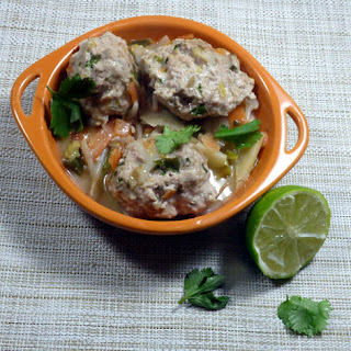 Pork Meatball Stirfry with Lime and Cilantro.