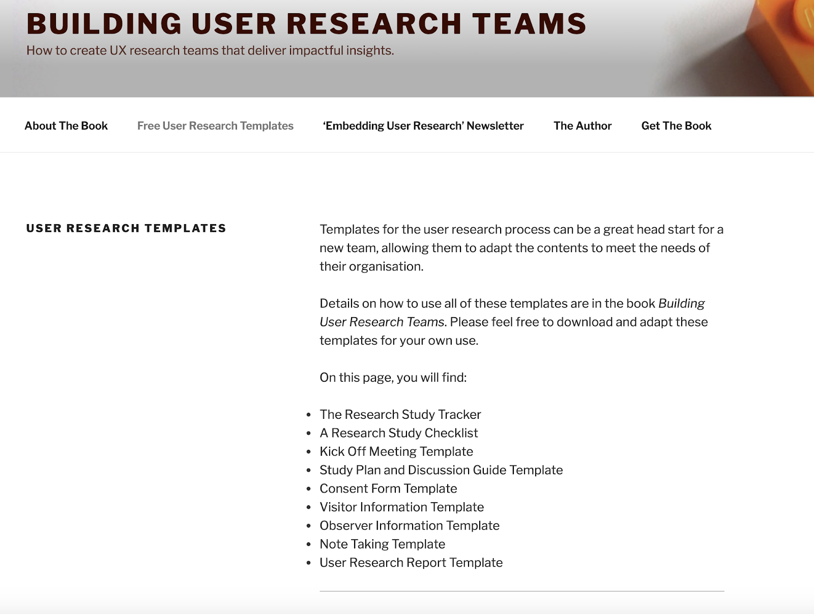 An image of the website 'Building User Research Teams.com'