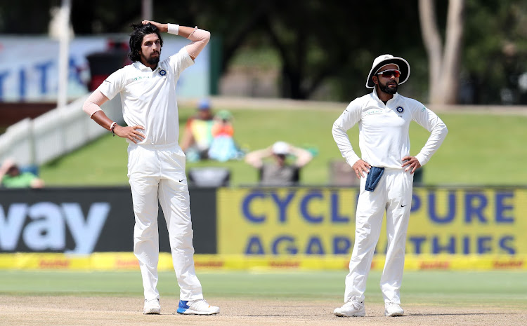 Ishant Sharma and Virat Kohli of India during the 2018 Sunfoil Test Series match between South Africa and India at SuperSport Park, Centurion South Africa on 16 January 2018.