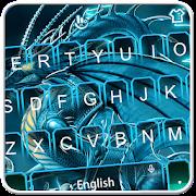 Live 3D Neon Blue Dragon Keyboard Theme