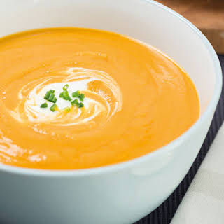 Roast Butternut Squash And Red Lentil Soup.