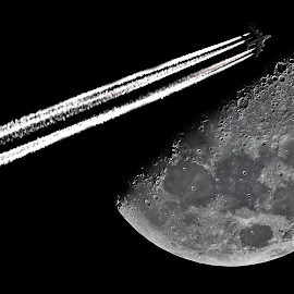 The moon by Sorin Lazar Photography - Landscapes Starscapes ( moon_light_city, moon, natural_satellite, chemtrail, air_plane )