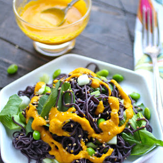 Cold Noodle Salad with Carrot-Ginger Dressing