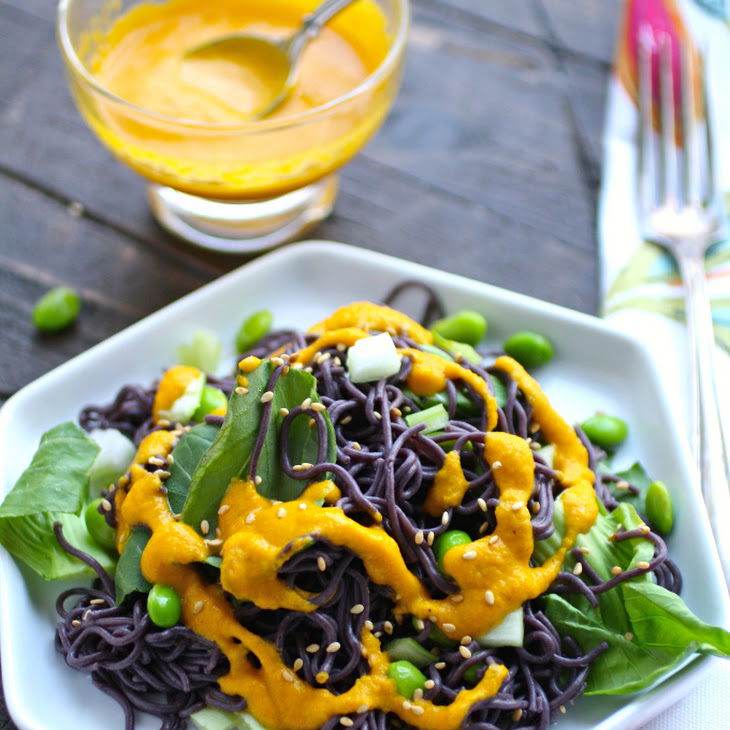 Cold Noodle Salad with Carrot-Ginger Dressing Recipe | Yummly