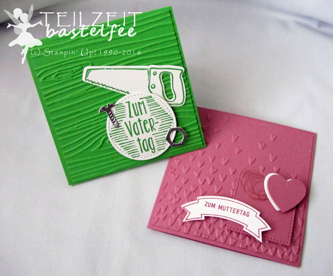 Stampin' Up! – In{k}spire_me #299, Muttertag, Vatertag, Mother's Day, Father's Day, Thoughful Banners, Bannerweise Grüße, Hammer, Nailed It, Framelits Stitched Shapes, Framelits Hearts a Flutter, Framelits Build it, male card