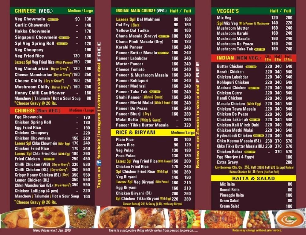 Lazeez Kitchen menu 1
