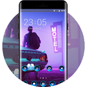 Theme for mist night man with car wallpaper icon