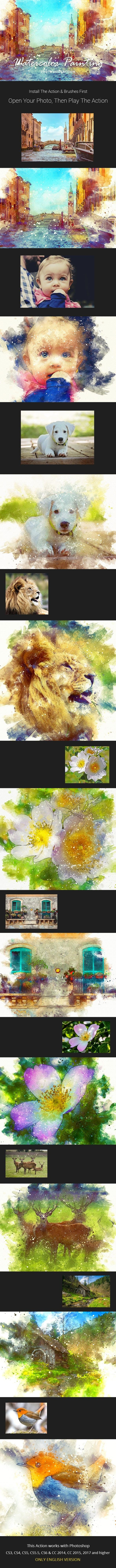 Full Watercolor Painting Photoshop Action – Sourcepsd com
