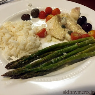 Cod with Asparagus, Tomatoes & Olives