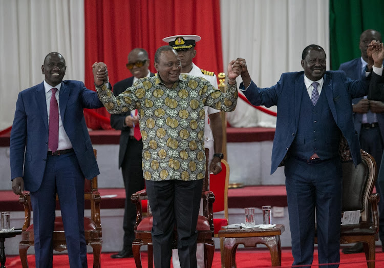 DP William Ruto, President Uhuru Kenyatta and former Prime Minister Raila Odinga at Bomas on Wednesday, November 27, 2019.