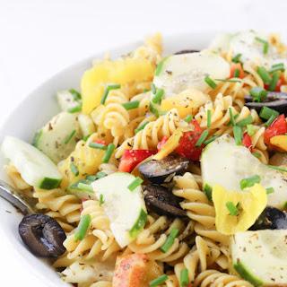 Healthy Italian Pasta Salad with Homemade Italian Dressing.