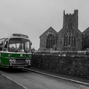 The Church Bus by Cornish Nige  - Transportation Other ( bus, green, church, black and white, transportation,  )
