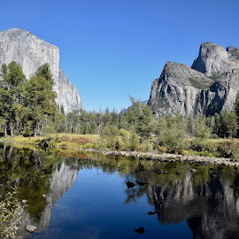 Gateway to Yosemite by Santford Overton - Landscapes Mountains & Hills ( landscapes, sky, mountains, reflections, water, trees, colors, adventure, blue, light, hills, river, photography )