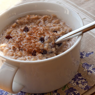 Steel Cut Oatmeal with Maple Syrup, Currants and Coconut