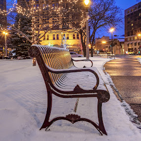 Winter bench by Anna-Lee Nemchek Cappaert - City,  Street & Park  City Parks ( milwaukee, lights, wisconsin, winter, cold, bench, christmas, red arrow park, pwcbenches, night )