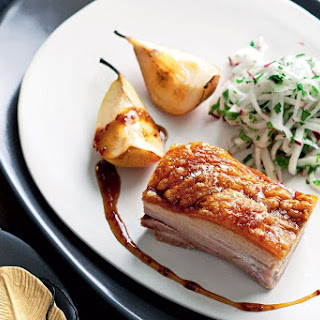 Pork Belly with Caramelised Pears and Pickled Kohlrabi Recipe