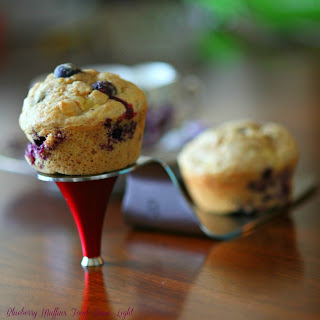 Healthy Banana Blueberry Bran Muffins.