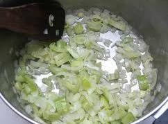 In a medium pan, melt butter and cook the leeks and onion till tender;...