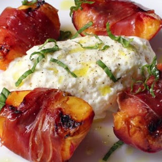 Grilled Prosciutto-Wrapped Peaches with Burrata and Basil Recipe