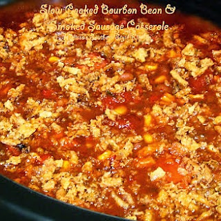 Slow Cooked Bourbon Bean & Smoked Sausage Casserole.