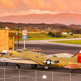 B-17G Nine O Nine at Sunset by Greg Booher - Transportation Airplanes ( holston mountain, collings foundation, wwii, fall colors, b-17g, airplane, greg booher, tri-cities regional airport, sunset, aircraft, fall, bomber, nine o nine )