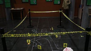 Una escena de la exposición sobre la literatura policíaca instalada en la Biblioteca Central de El Ejido.