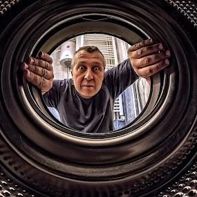 Looking for the Other Sock by Samir Zahirovic - People Portraits of Men ( #fisheye, #portrait, #wide, #wideangle, #selfie, #sečfportrait, #funny )