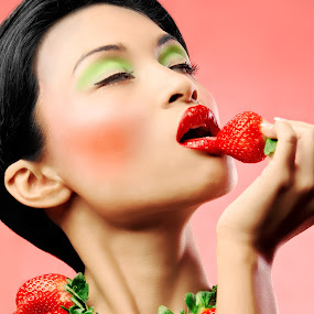 Strawberry delight by Ben Heys - People Portraits of Women ( studio, person, makeup, skin, artwork, asian, love, glamour, sexy, woman, pink, bare, fruit, creative, art, pale, health, portrait, tasty, sweet, food, lips, eat, flavour, model, nude, undress, beauty, pretty, glamor, erotic, lust, girl, attractive, cosmetics, passion, topless, desert, desire, green, elegance, beautiful, adult, young, sensual, red, naked, elegant, eating, healthy )