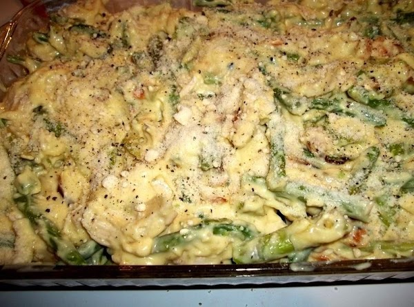 Carefully spread the chicken mixture over the bread crumbs that you spread in baking...