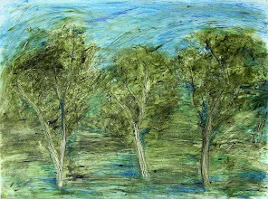 """Photo: Vision Trees, 2011, 74cm x 56cm, 29"""" x 22"""", India inks, acrylic inks, oils, 300lb Arches watercolour paper.   Perhaps this needs more contrast? They are my vision trees. The lightness may grow on me and I may leave it as is. We are in the exuberance of spring, the budding greens, pale, luminescent everywhere.  I made an 8 min time lapse video with a story while painting this: http://youtu.be/SUevXeBE8hA  The original footage was sped up 1200%, and if you'd like to listen to/or read the story - I speak it, and I subtitled the video so it can be translated into other languages, click on the CC -  it looks best sped up 2X again."""