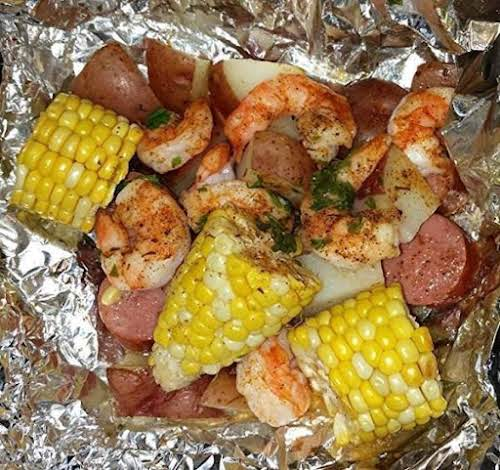 "Cajun Shrimp & Sausage Hobo Pouches ""My family just loves these. I..."