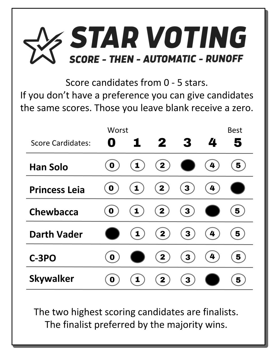 STAR Voting Ballot