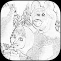 Masha dibujo libro para niños icon