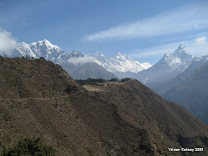 Photo: The view on the trek in just past Namche.  Ama Dablam on the right, and Lhotse and Everest in the center.