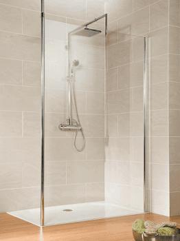 Paroi de douche fixe à l'italienne Walk In, 25 à 140 cm, pour une niche avec barre au plafond
