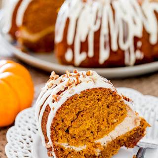Pumpkin Bundt Cake with Cream Cheese Filling.