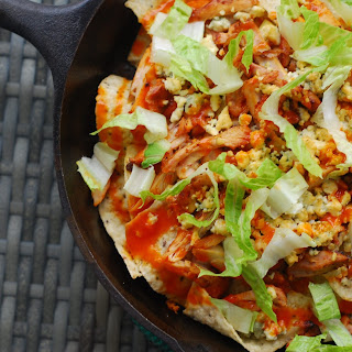 Buffalo Chicken and Blue Cheese Skillet Nachos.