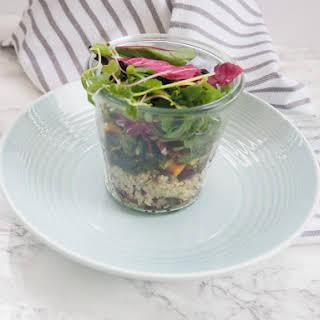 Lentil and Roasted Veggie Salad in a Jar.